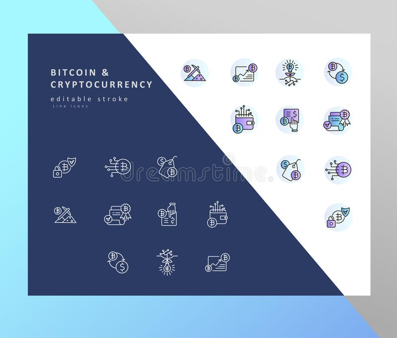 Vector icon and logo bitcoin and cryptocurrency. Editable outline stroke royalty free illustration