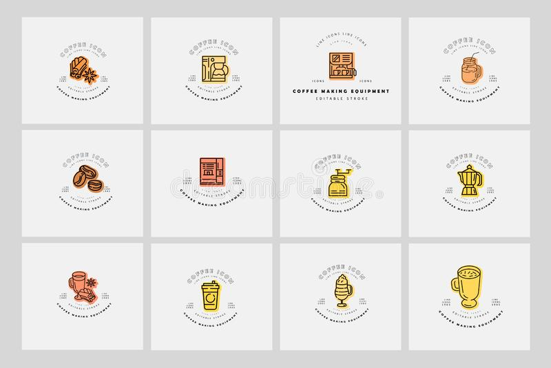 Vector icon and logo for coffee making equipment. Editable outline stroke size. Line flat contour, thin and linear. Design. Simple icons. Concept illustration royalty free illustration