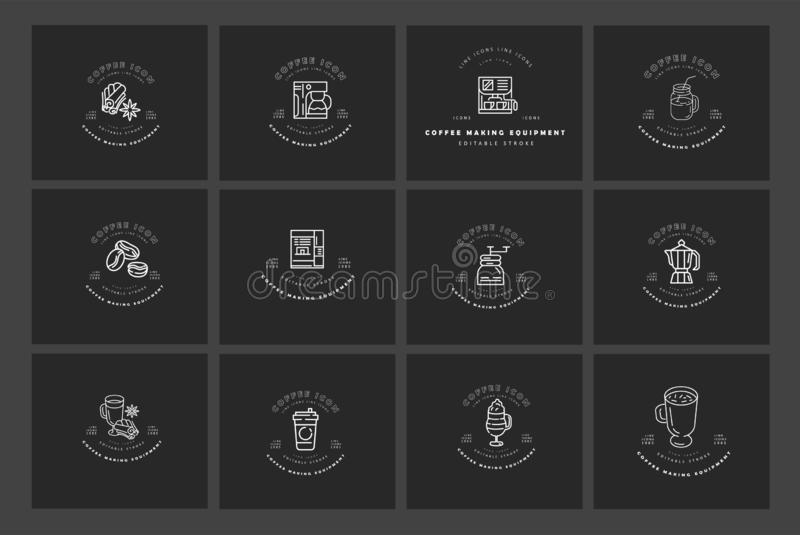 Vector icon and logo for coffee making equipment. Editable outline stroke size. Line flat contour, thin and linear. Design. Simple icons. Concept illustration vector illustration