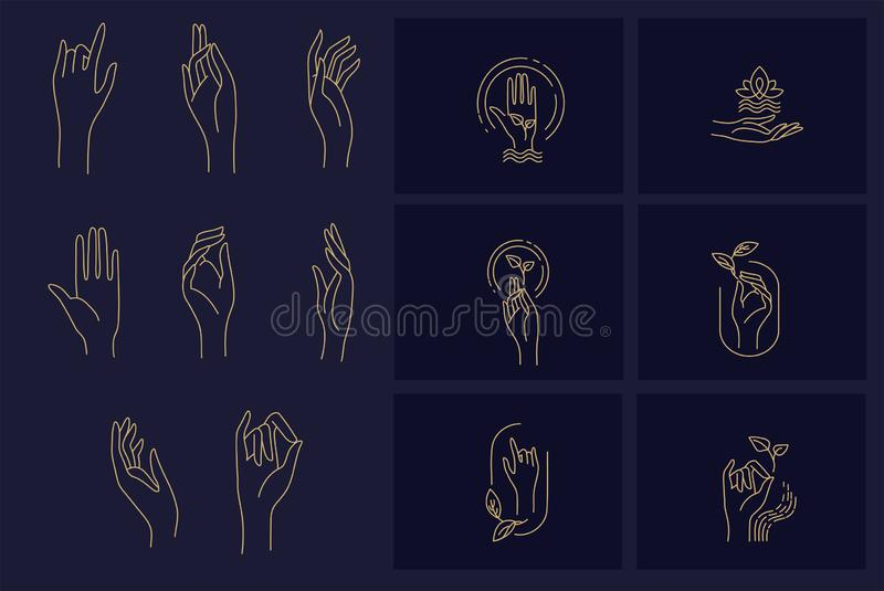 Vector icon and logo with hand for natural cosmetics and care dry skin. Editable outline stroke size. Line flat contour. Thin and linear design. Simple icons vector illustration
