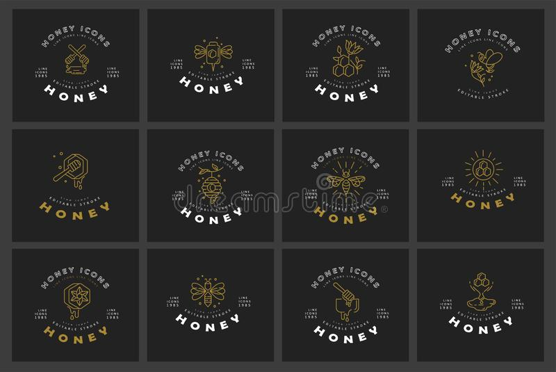 Vector icon and logo honey. Editable outline stroke size. Line flat contour, thin and linear design. Simple icons. Concept illustration. Sign, symbol, element vector illustration