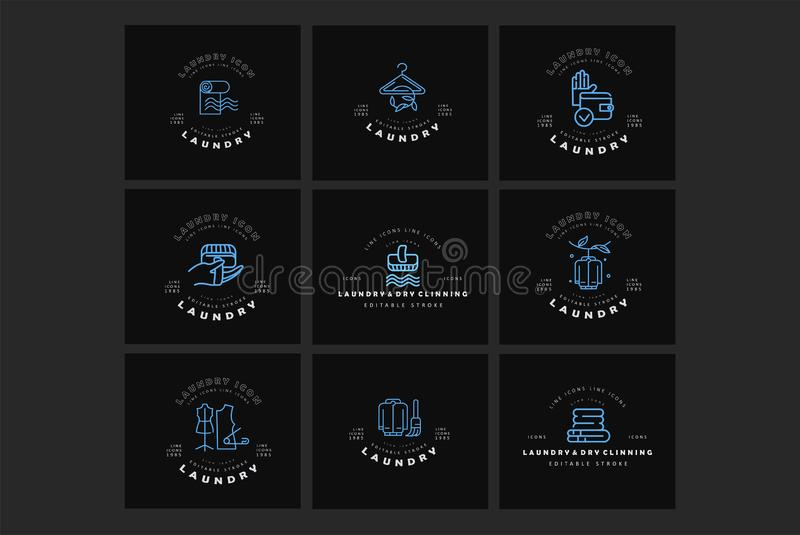 Vector icon and logo for laundry and dry clinning. Editable outline stroke size. Line flat contour, thin and linear. Design. Simple icons. Concept illustration royalty free illustration