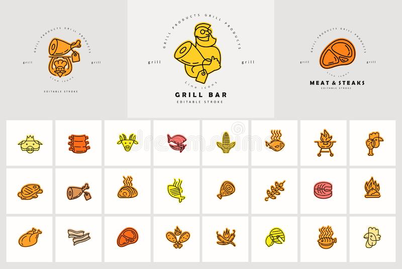 Vector icon and logo for meat and grill cafe or steak restaurant. Editable outline stroke size. Line flat contour, thin stock illustration