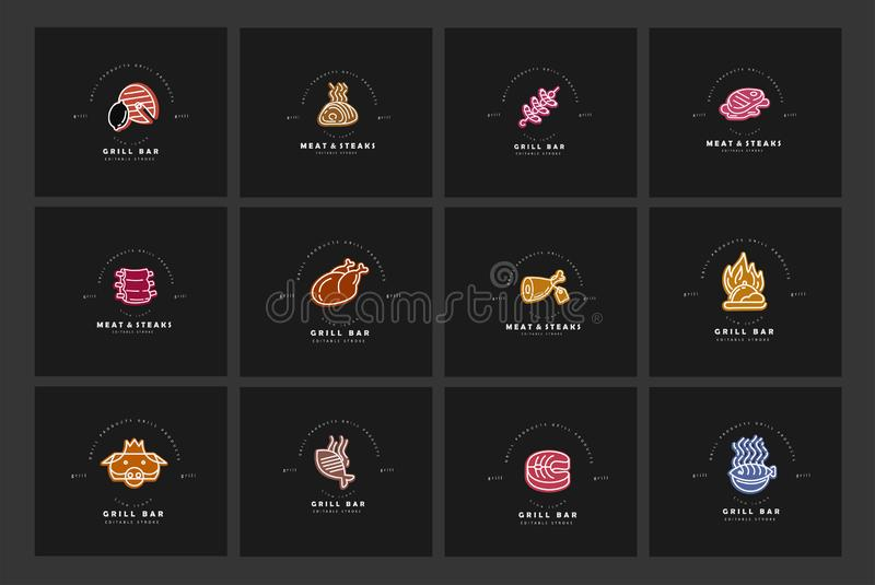 Vector icon and logo for meat and grill cafe or steak restaurant. Editable outline stroke size. Line flat contour, thin. And linear design. Simple icons vector illustration