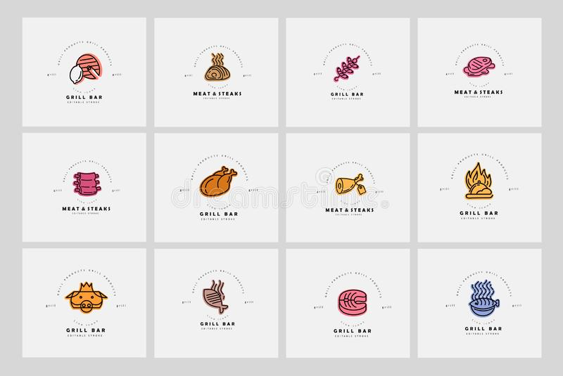Vector icon and logo for meat and grill cafe or steak restaurant. Editable outline stroke size. Line flat contour, thin. And linear design. Simple icons royalty free illustration