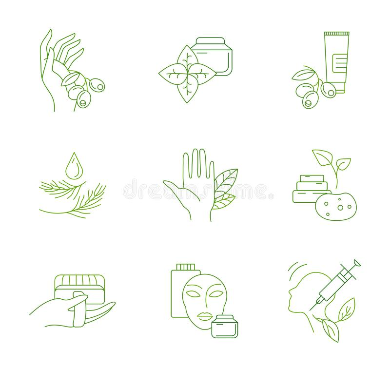 Vector icon and logo for natural cosmetics and care dry skin. Editable outline stroke size. Line flat contour, thin and linear design. Simple icons. Concept stock illustration