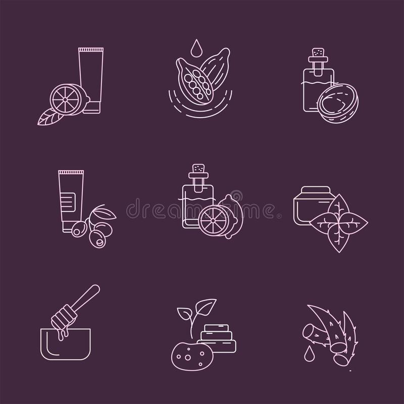 Vector icon and logo for natural cosmetics and care dry skin. Editable outline stroke size. Line flat contour, thin and linear design. Simple icons. Concept royalty free illustration