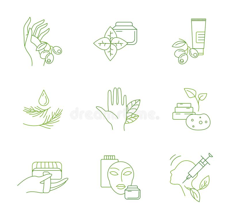 Vector icon and logo for natural cosmetics and care dry skin. Editable outline stroke size. Line flat contour, thin and linear design. Simple icons. Concept vector illustration