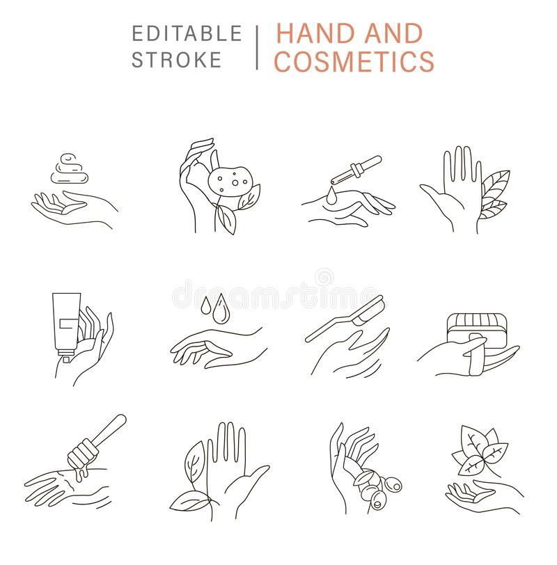 Vector icon and logo for natural cosmetics and care dry skin. Vector icon and logo for natural cosmetics with hand and care dry skin. Editable outline stroke vector illustration