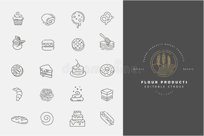Vector icon and logo for natural flour product and bacery. Editable outline stroke size. Line flat contour, thin and. Linear design. Simple icons. Concept stock illustration
