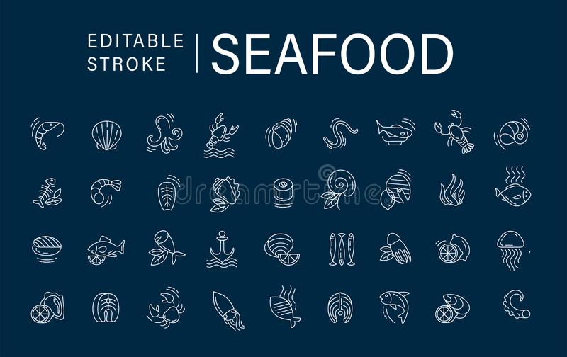 Vector icon and logo for seafood restaurant or cafe. Editable outline stroke size. Line flat contour, thin and linear. Design. Simple icons. Concept vector illustration