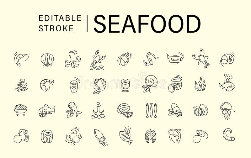 Vector icon and logo for seafood restaurant or cafe. Editable outline stroke size. Line flat contour, thin and linear. Design. Simple icons. Concept royalty free illustration