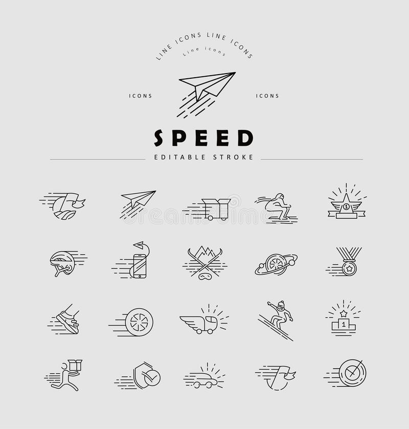 Vector icon and logo for speed motion. Editable outline stroke size. Line flat contour, thin and linear design. Simple icons. Concept illustration. Sign stock illustration