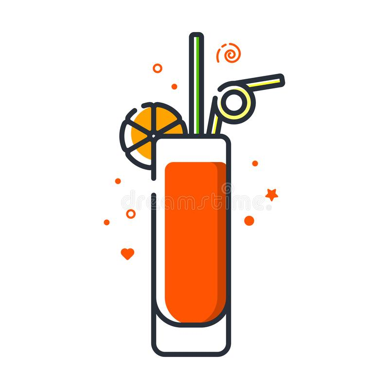 Vector icon of long island iced tea cocktail royalty free illustration