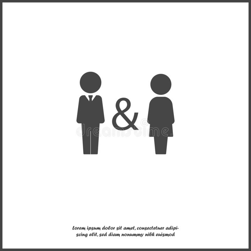 Vector icon of man and woman. Family symbol of proximity, support, compatibility. Joint life, life and work of men and women. Joint business icon on white royalty free illustration