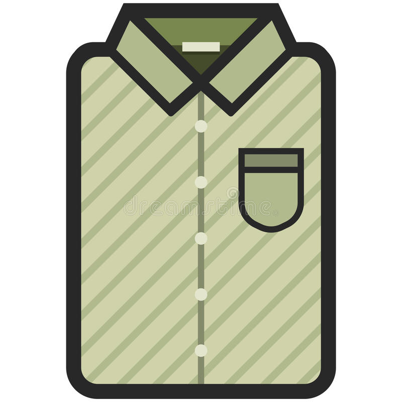 Vector Icon of a modern olive shirt with dark stripes for men or woman in flat style. Pixel perfect. Bussiness and office look. For shops and stores vector illustration