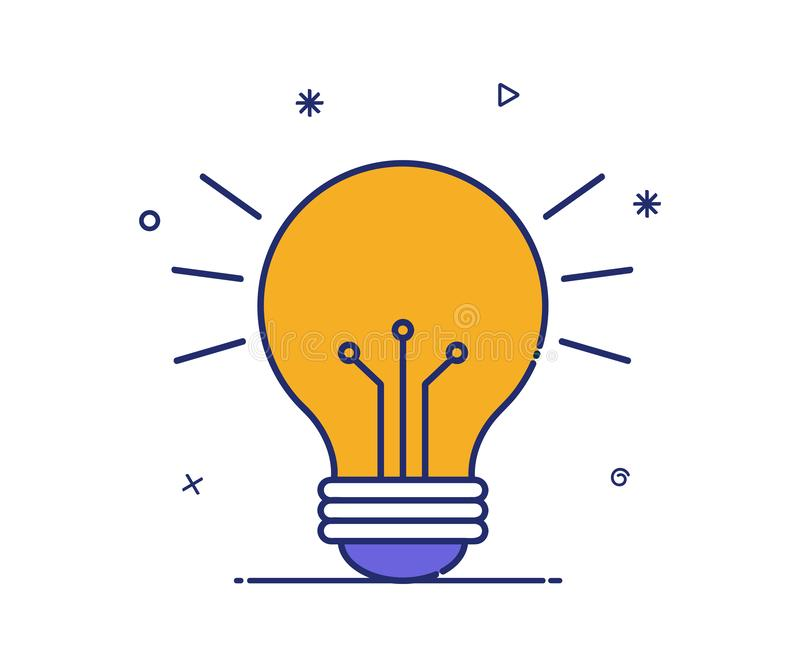 Vector icon of a modern style idea light. Lamp icon royalty free illustration