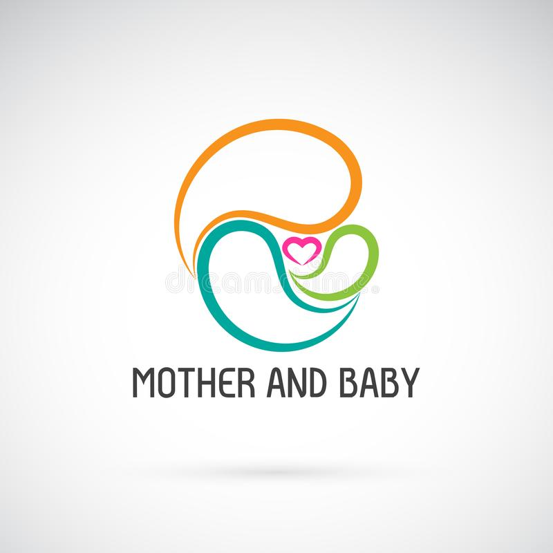 Vector icon of mother and baby design. Expression of love. stock illustration