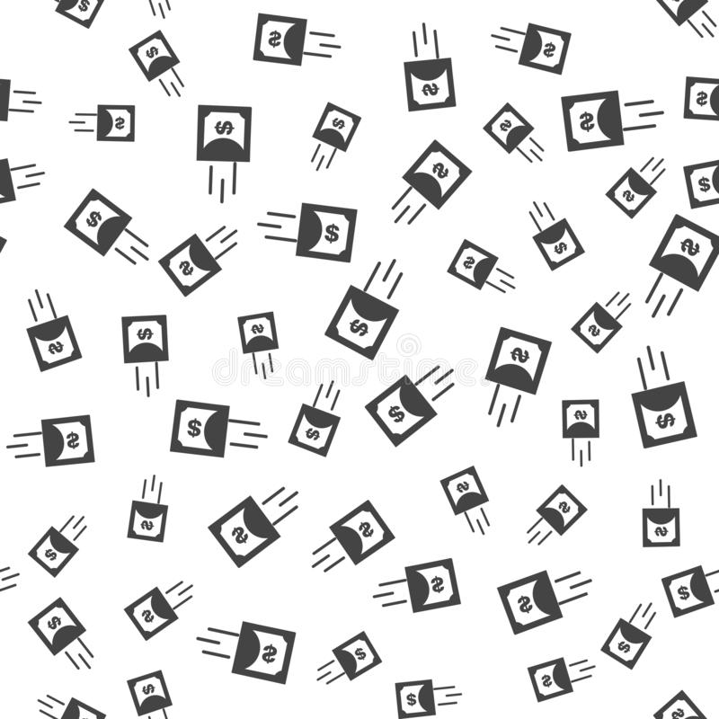 Vector icon of the movement of dollar. Symbol of fast money endless pattern. Vector seamless pattern on a white background stock illustration