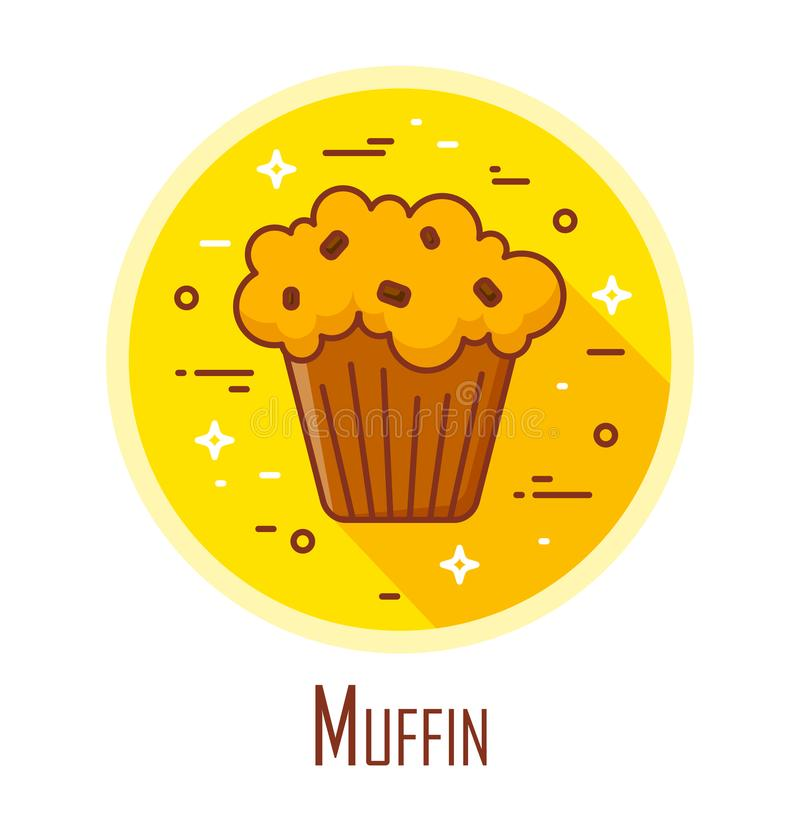 Vector icon with muffin in a coloured circle. Vector banner for fast food. Thin line flat design stock illustration