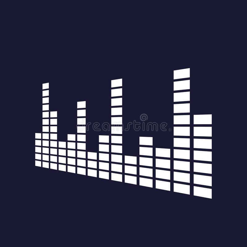 Vector icon of musical equalizer. A musical sound wave.Vector white icon on dark blue background. stock illustration