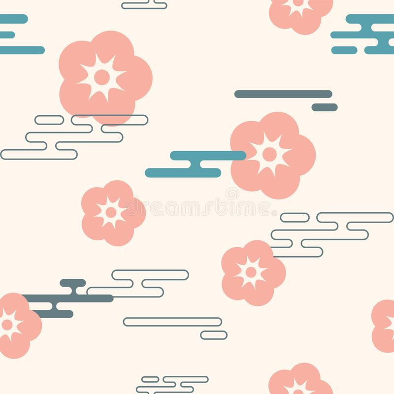 Vector icon in oriental flat style. Japanese, chinese flowers and clouds elements. vector illustration