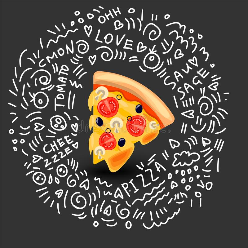 Vector Icon of Pizza Margarita, Classic Italian Food. Hot Slice of Pizza Margarita with Melted Cheese, Tomato, Mushrooms. And Olives. Colorful Isolated vector illustration
