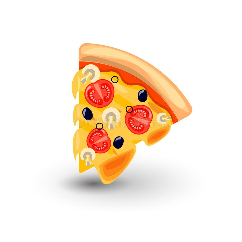 Vector Icon of Pizza Margarita. Concept of Classic Italian Food. Hot Fresh Slice of Pizza Margarita with Melted Cheese. Tomato, Mushrooms and Olives. Colorful royalty free illustration
