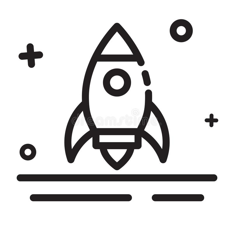 Vector icon. Rocket, Start up, Launcher icon. Modern outline icon for any purposes stock illustration