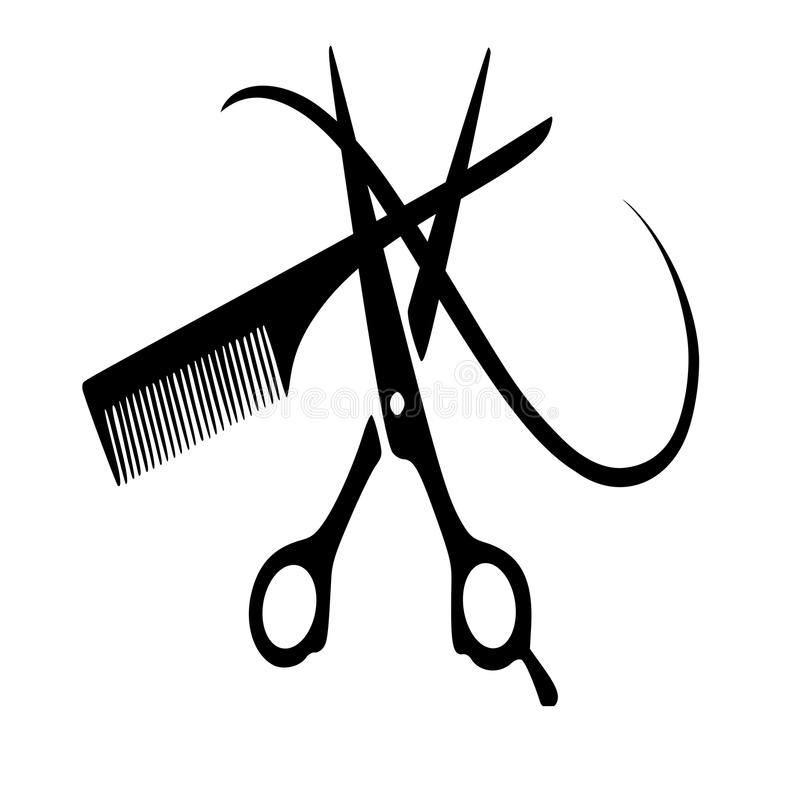 Vector icon scissors , a comb , a strand of hair. Vector silhouettes of hairdressing tools. Vector icon scissors , a comb , a strand of hair for hairdressers and royalty free illustration