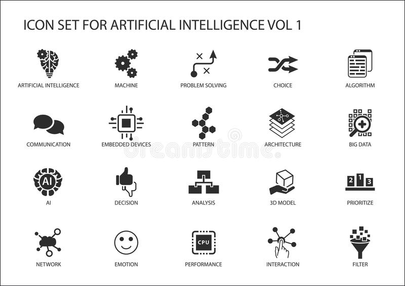 Vector icon set for artificial intelligence (AI) concept. Various symbols for the topic using flat design vector illustration