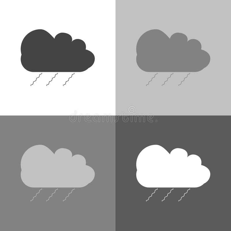 Vector icon set cloud of rain on white-grey-black color. vector illustration