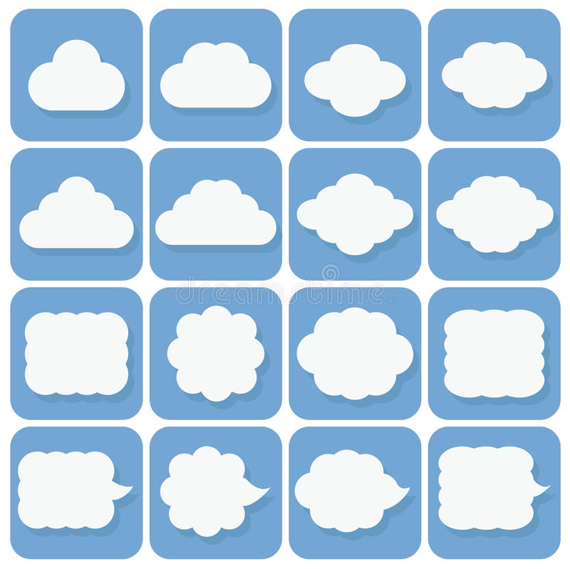 vector icon set, collection of cloud icons, white on blue background with dark blue shadows vector illustration