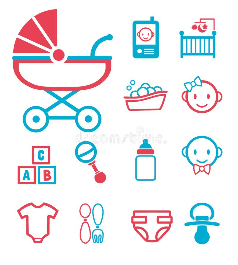 Vector icon set for creating infographics related to childbirth and newborn babies like baby phone, stroller, bottle, face, crib o royalty free illustration