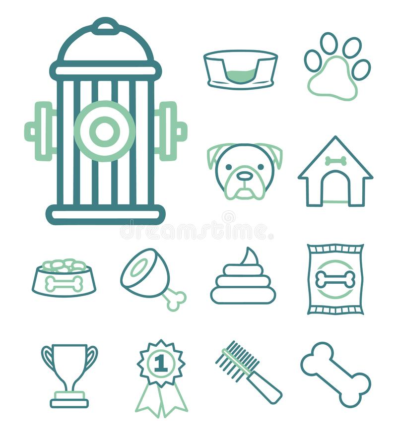 Vector icon set for creating infographics related to dogs, like hydrant, dog kennel, food or paw print stock illustration