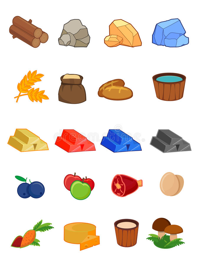 Vector icon set for 2d games, platformer, the game interface, UI, resources, ore, food, wood stock illustration