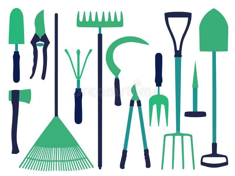 Vector icon set with different gardening tools icons like shovel, ax, rake, scythe or dung fork royalty free illustration