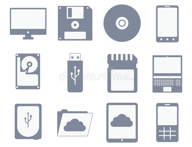 Vector icon set of different storage and computer devices royalty free illustration