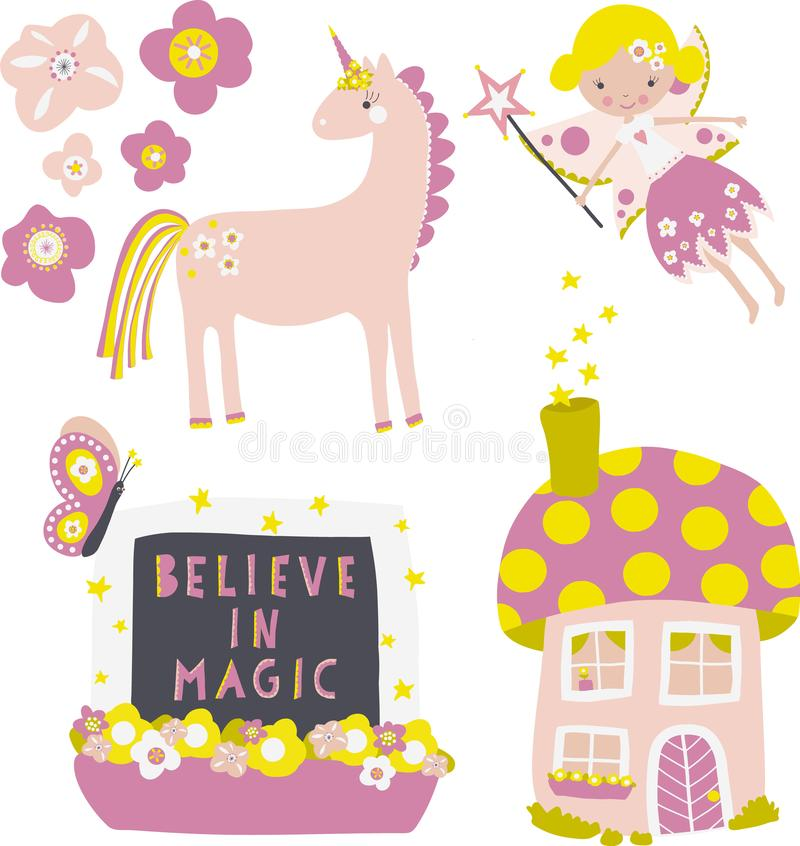 Vector icon set fairy, flowers ,mushroom fairy house, unicorn, window with Believe in Magic quote. Children clip art royalty free illustration