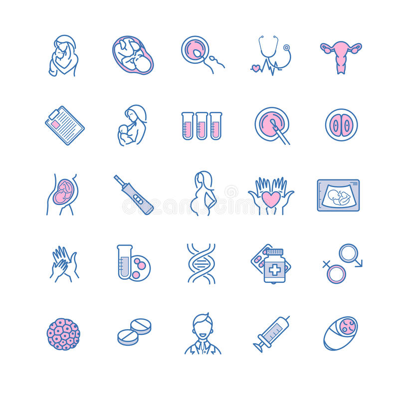 Vector icon set of fertilization, pregnancy and motherhood. Gyne stock illustration