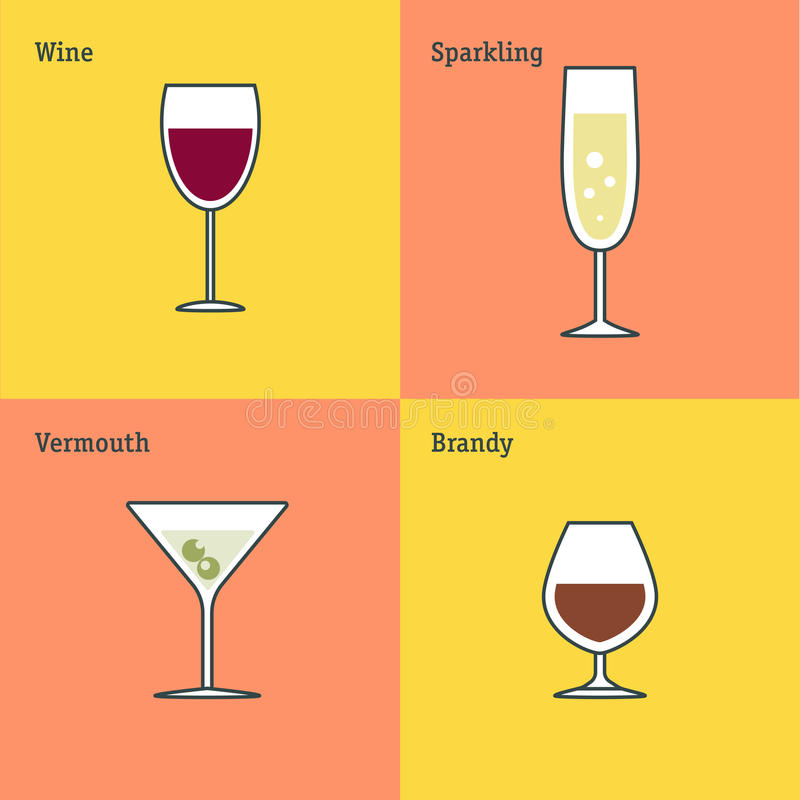 Vector icon set of glass goblets. Flat thin line design. Wine, sparkling wine, vermouth and brandy. royalty free illustration