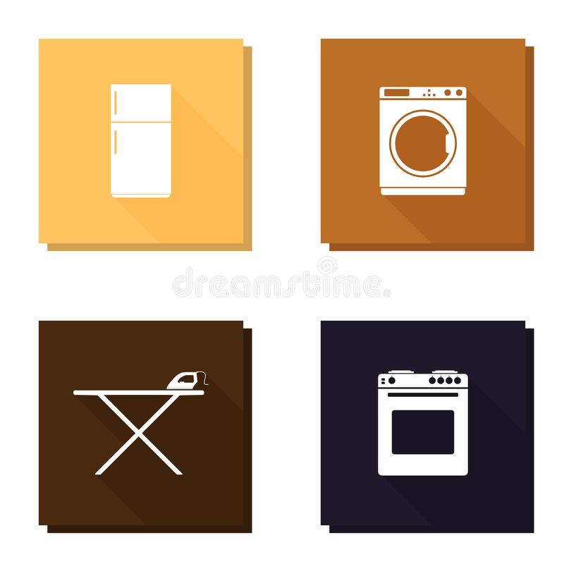Vector icon set with long shadow refrigerator, washing machine, iron and ironing board and gas stove stock illustration