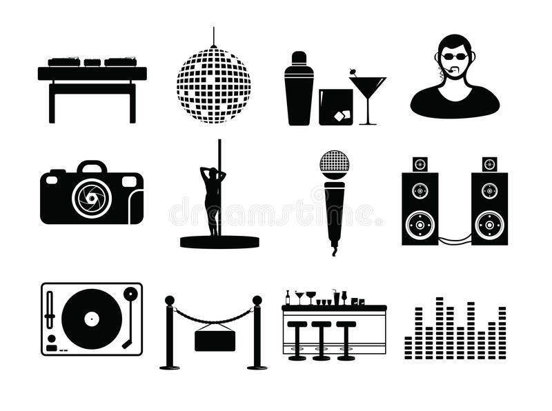 Vector icon set for night club vector illustration