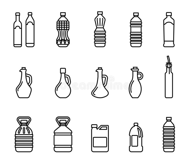 Vector icon set of pictures of different types of oil for cooking. Group bottles of oil for frying. royalty free illustration