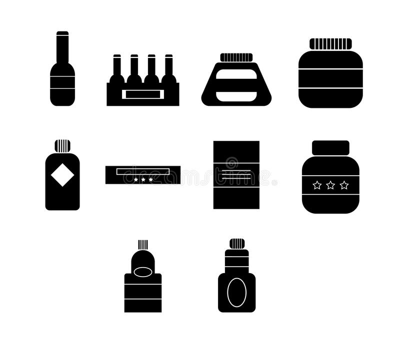 Vector icon set for plastic containers stock illustration