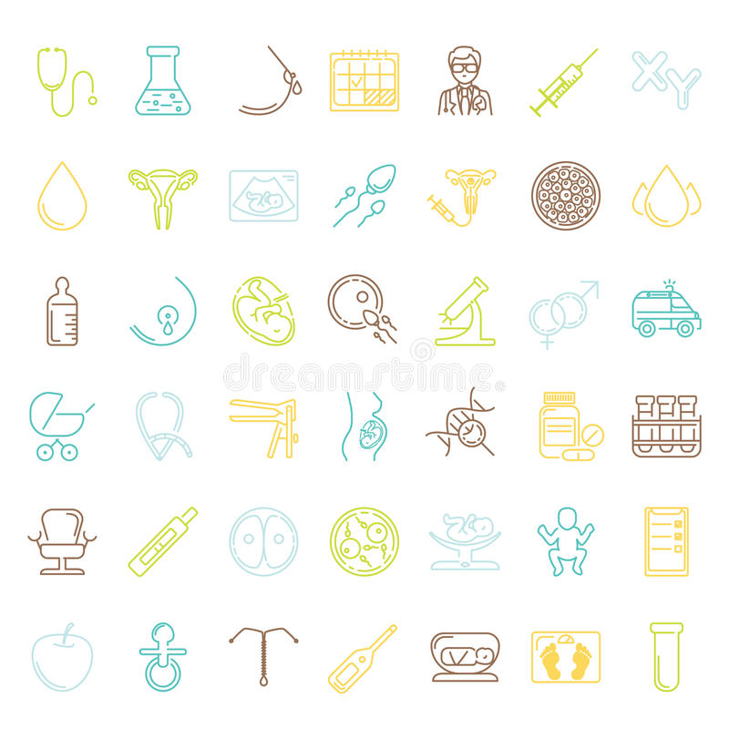 Vector icon set. Pregnancy and obstetrician vector thin line icon set. Clean and modern line style vector art stock illustration