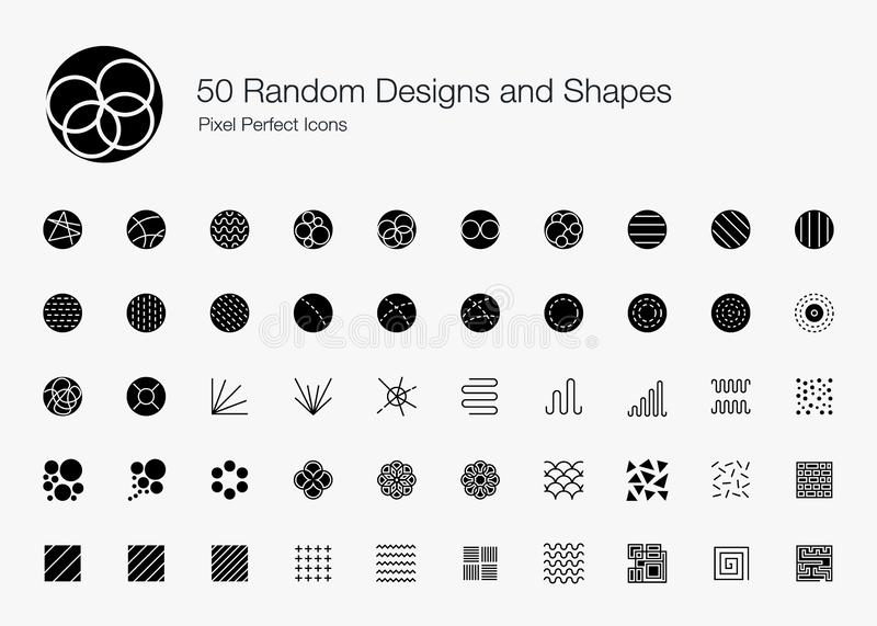 Abstracts Random Designs and Shapes Icons. Vector icon set of random round circle pattern,  abstract lines, and shapes royalty free illustration