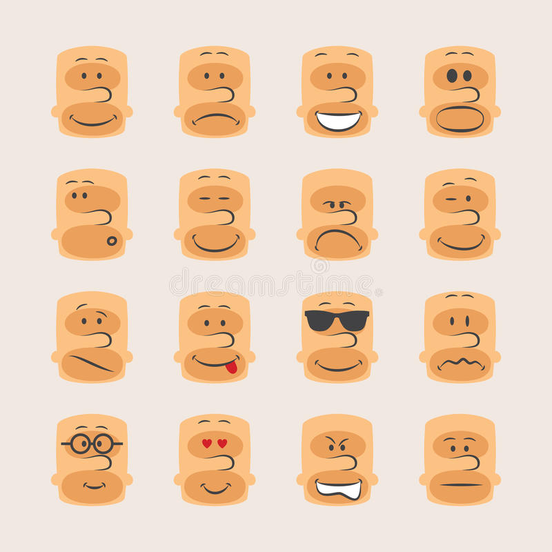 Vector icon set of smiley faces emotions mood and expression stock illustration