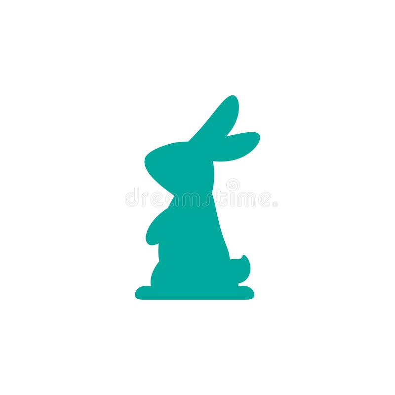 Vector icon with silhouette of rabbit. blue hare isolated on white background. Easter bunny. Flat design royalty free illustration