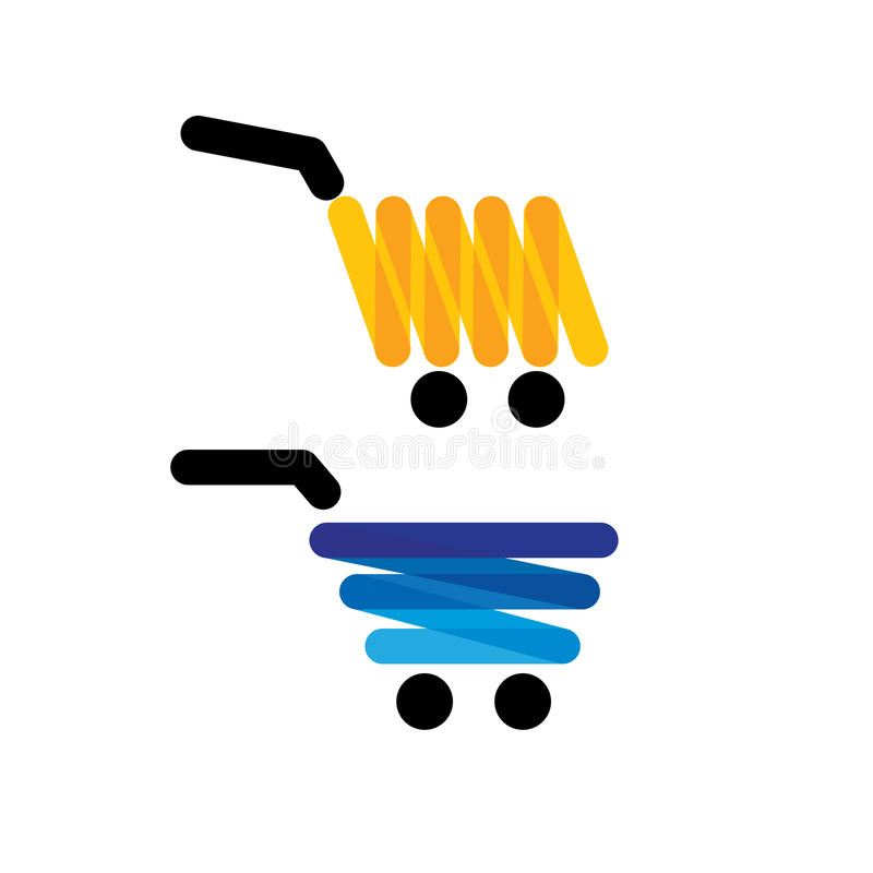 Vector icon simple unique shopping trolleys - concept graphics i royalty free illustration